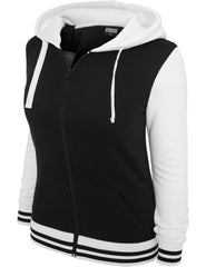 Ladies 2-Tone College Zip Hoody TB755 Black