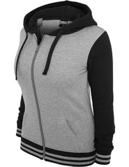 Ladies 2-Tone College Zip Hoody TB755 Grey