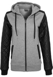 Ladies Diamond Leather Imitation Sleeve Zip Hoody TB785 Grey