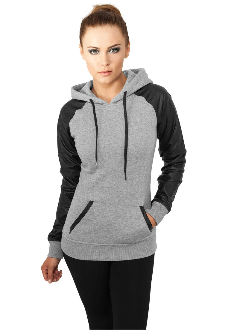 Ladies Raglan Leather Imitation Hoody TB800 Grey