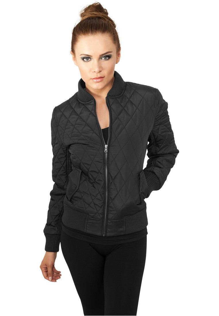 Ladies Diamond Quilt Nylon Jacket TB806 Black