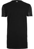 Long Zipped Leather Imitation Sleeve Tee TB820 Black