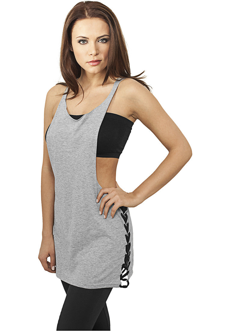 Ladies Side Knotted Loose Tank TB915 Grey