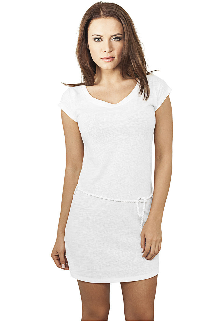 Ladies Slub Jersey Dress TB923 White