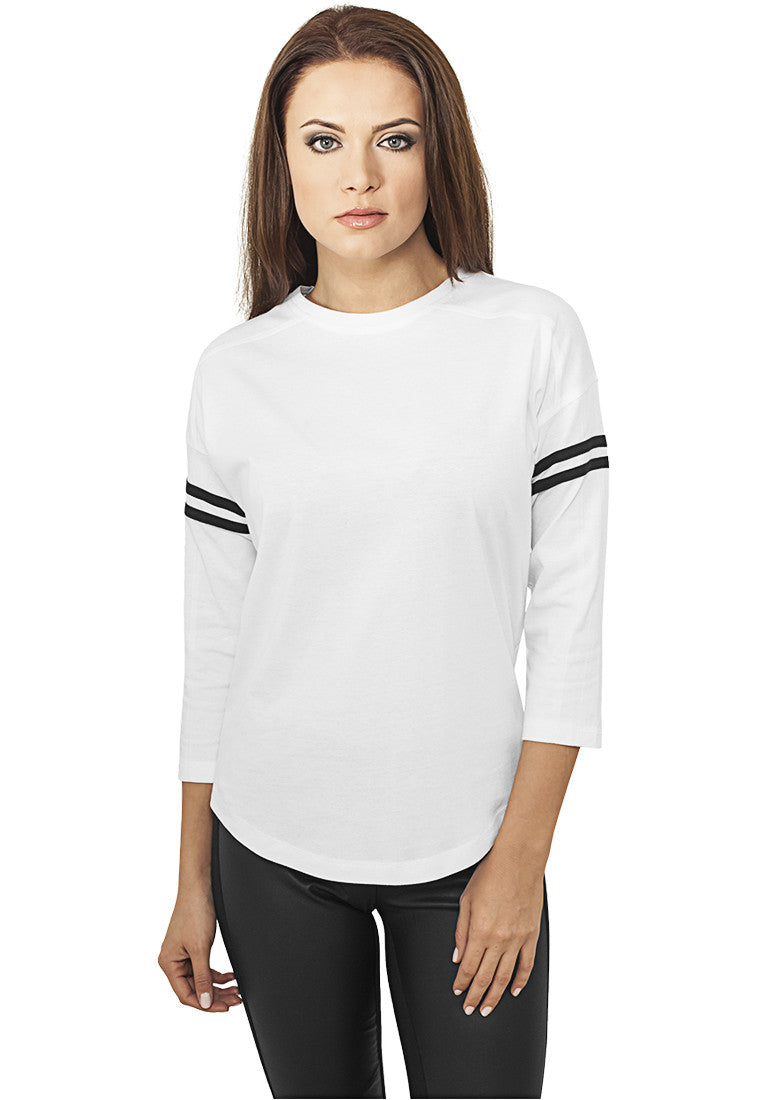 Ladies Sleeve Striped L/S Tee TB927 White