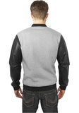 Zipped Leather Imitation Sleeve Jacket TB984 Grey