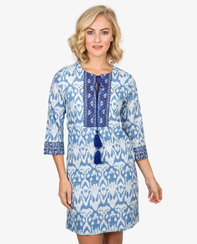Ikat 3/4 Sleeve Dress