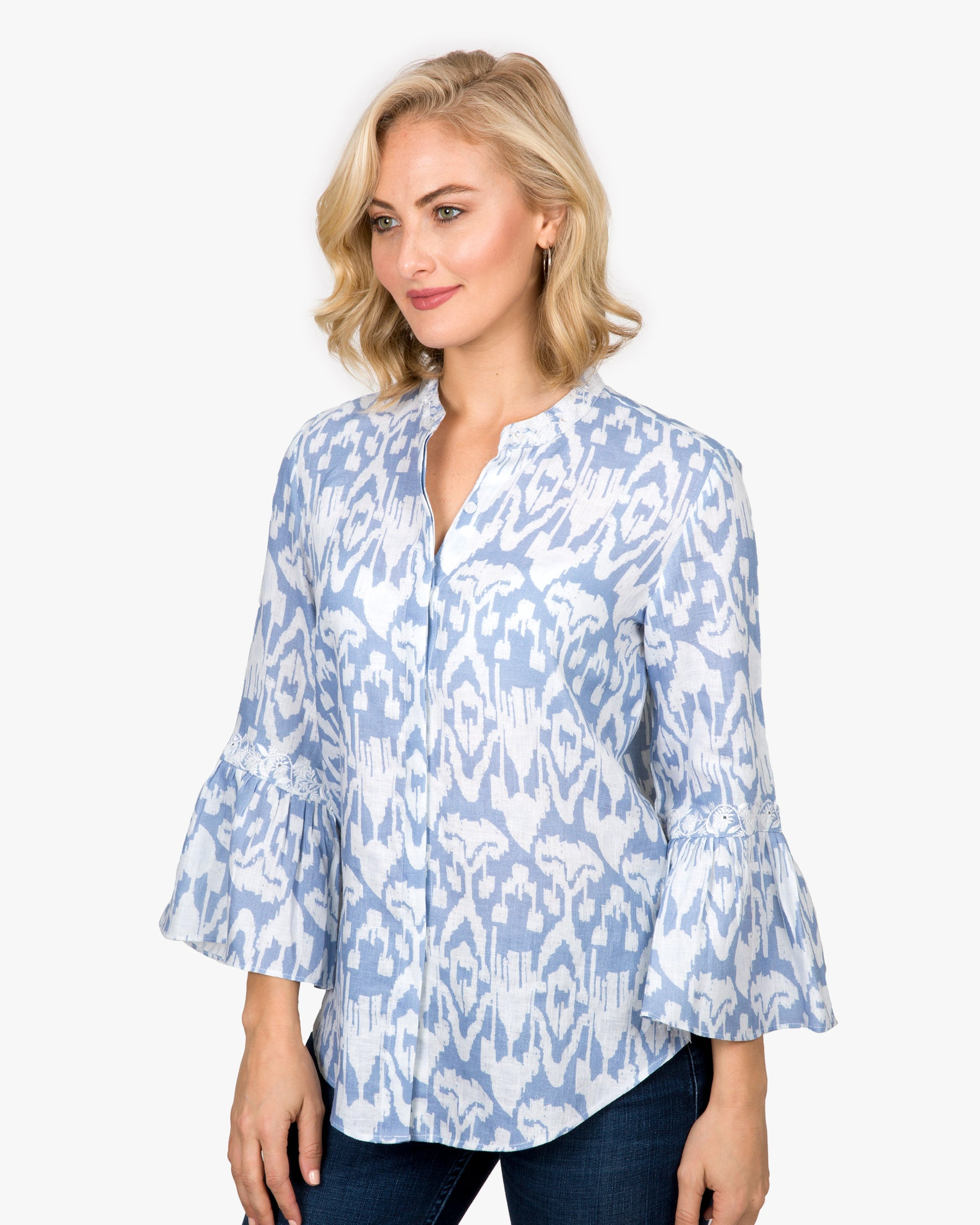 Ikat Bell Sleeve Shirt