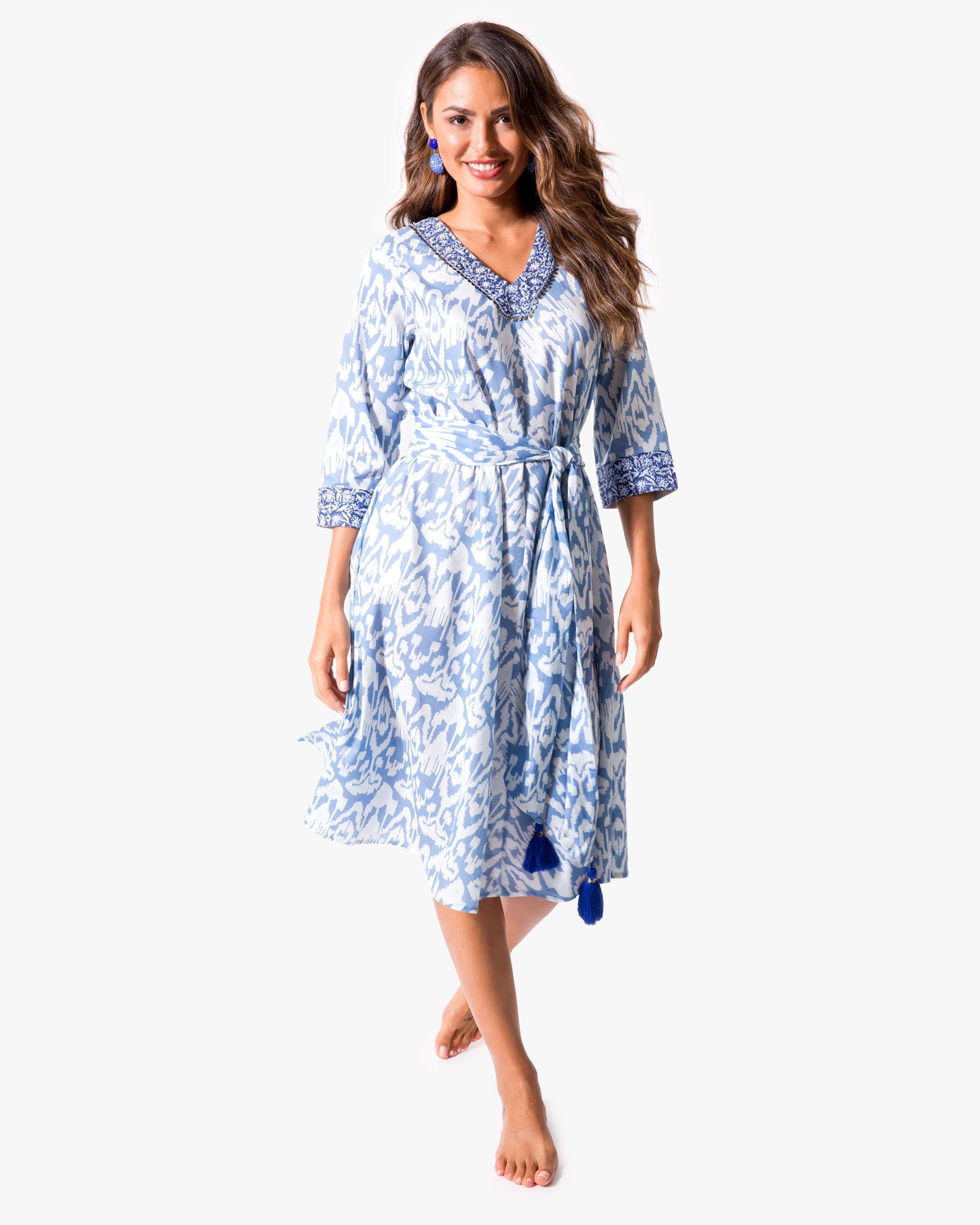 Ikat V-Neck Dress