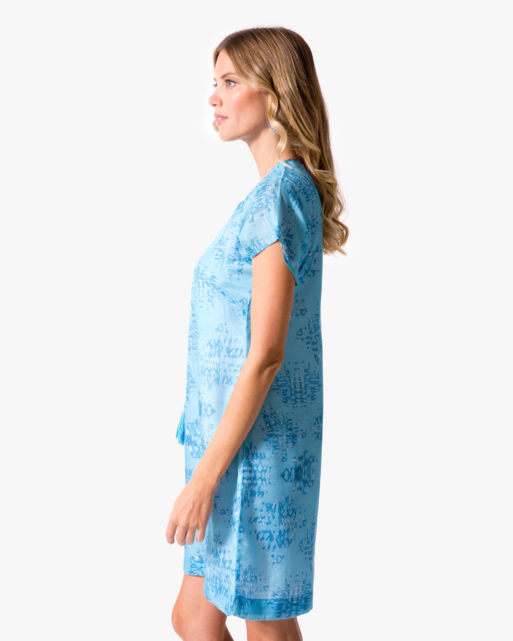 Shibori Cap Sleeve Dress