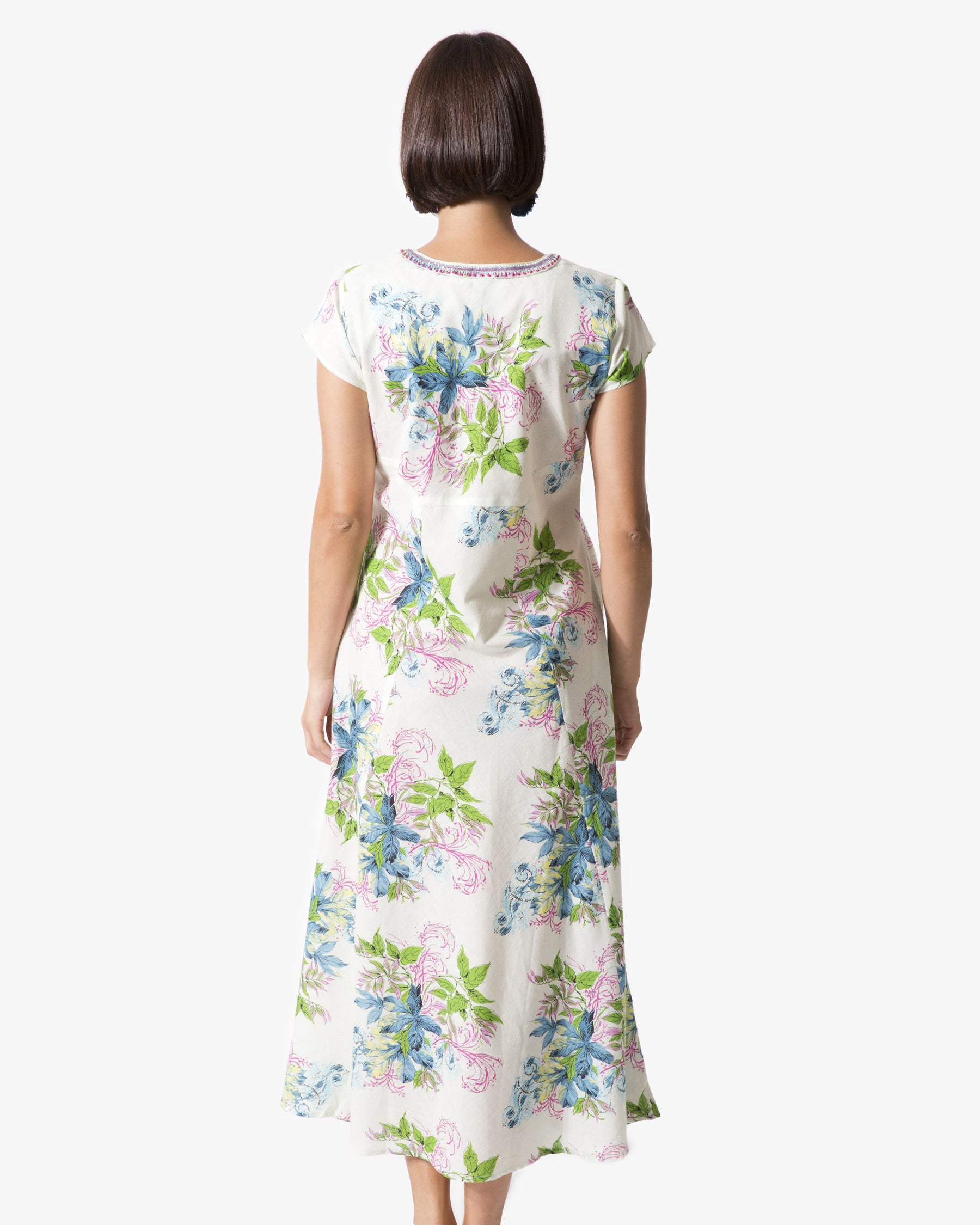 "Leaves 50"" Cap Sleeve Dress"