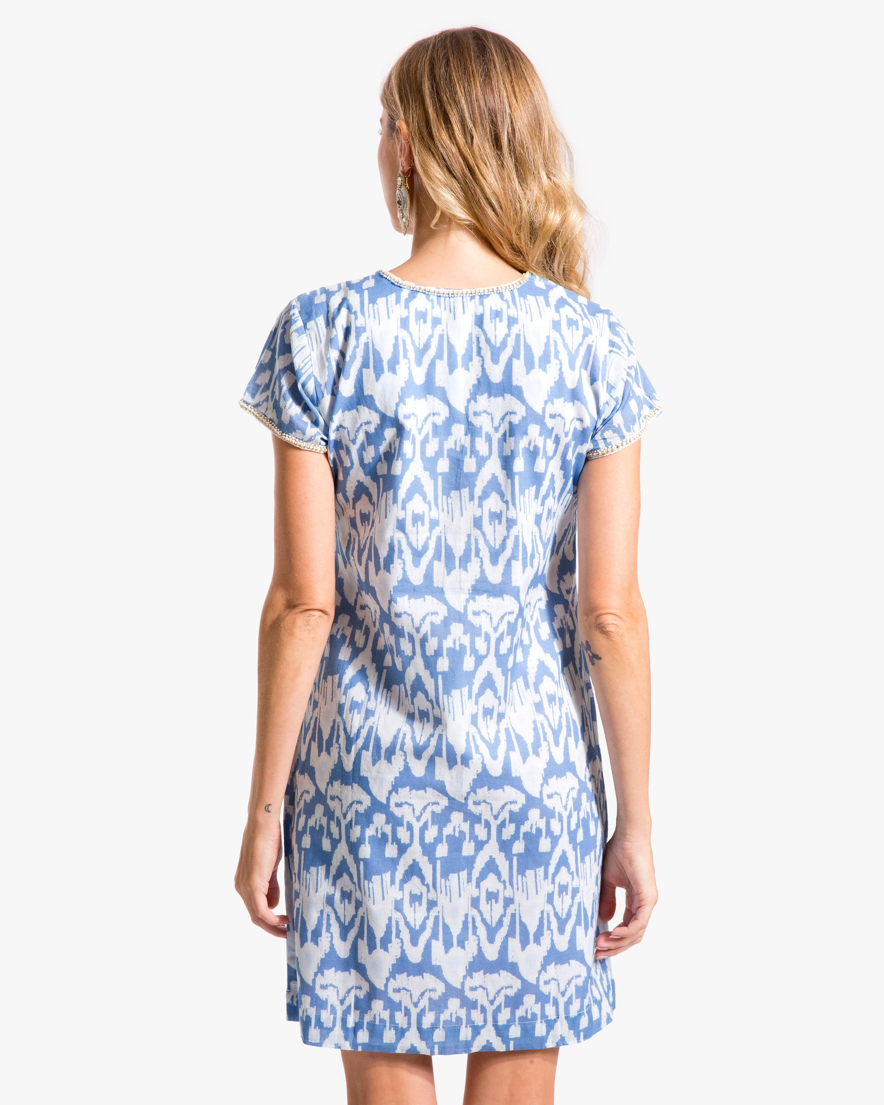 Ikat Cap Sleeve Dress