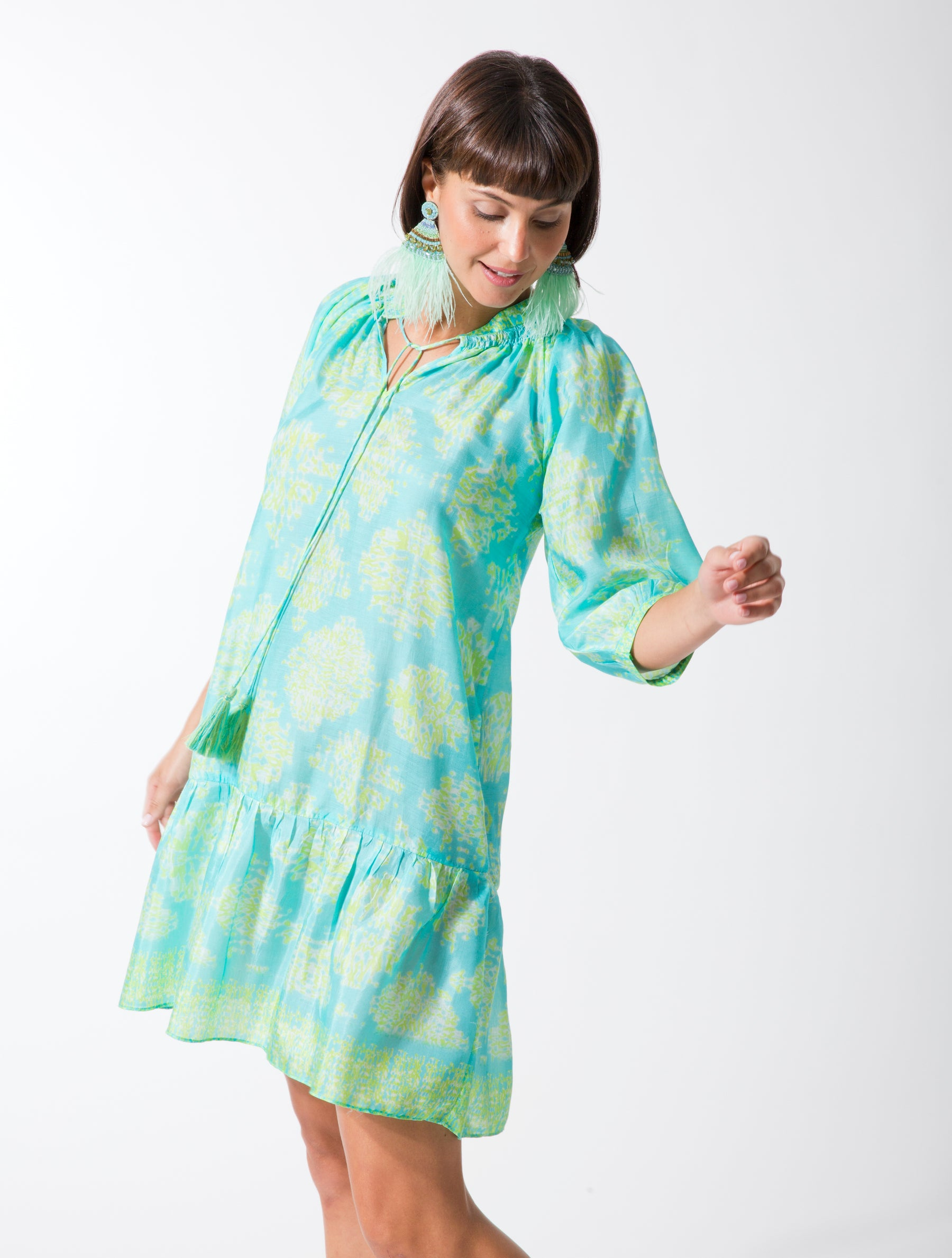 Shibori Peasant Dress