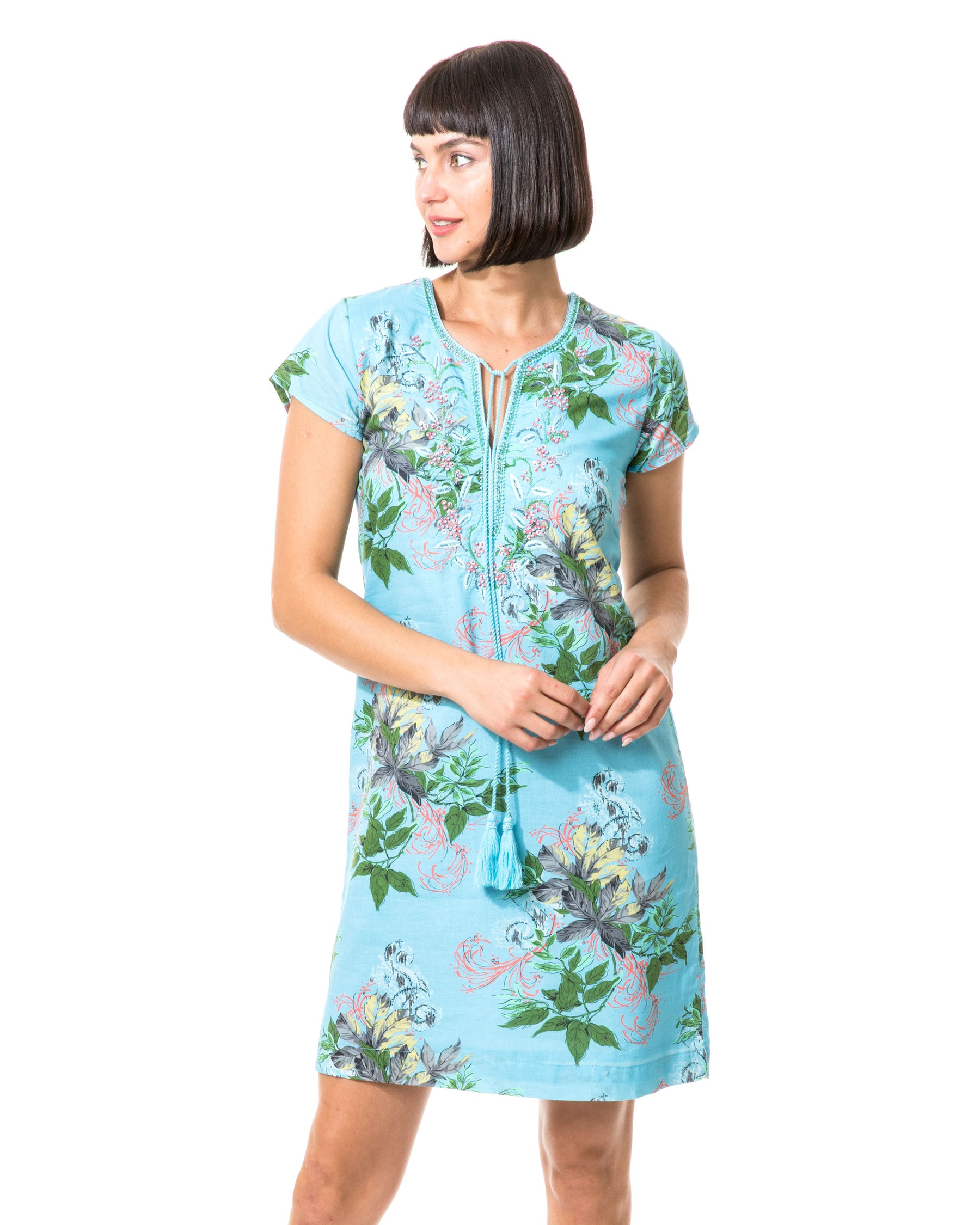 Leaves Cap Sleeve Dress