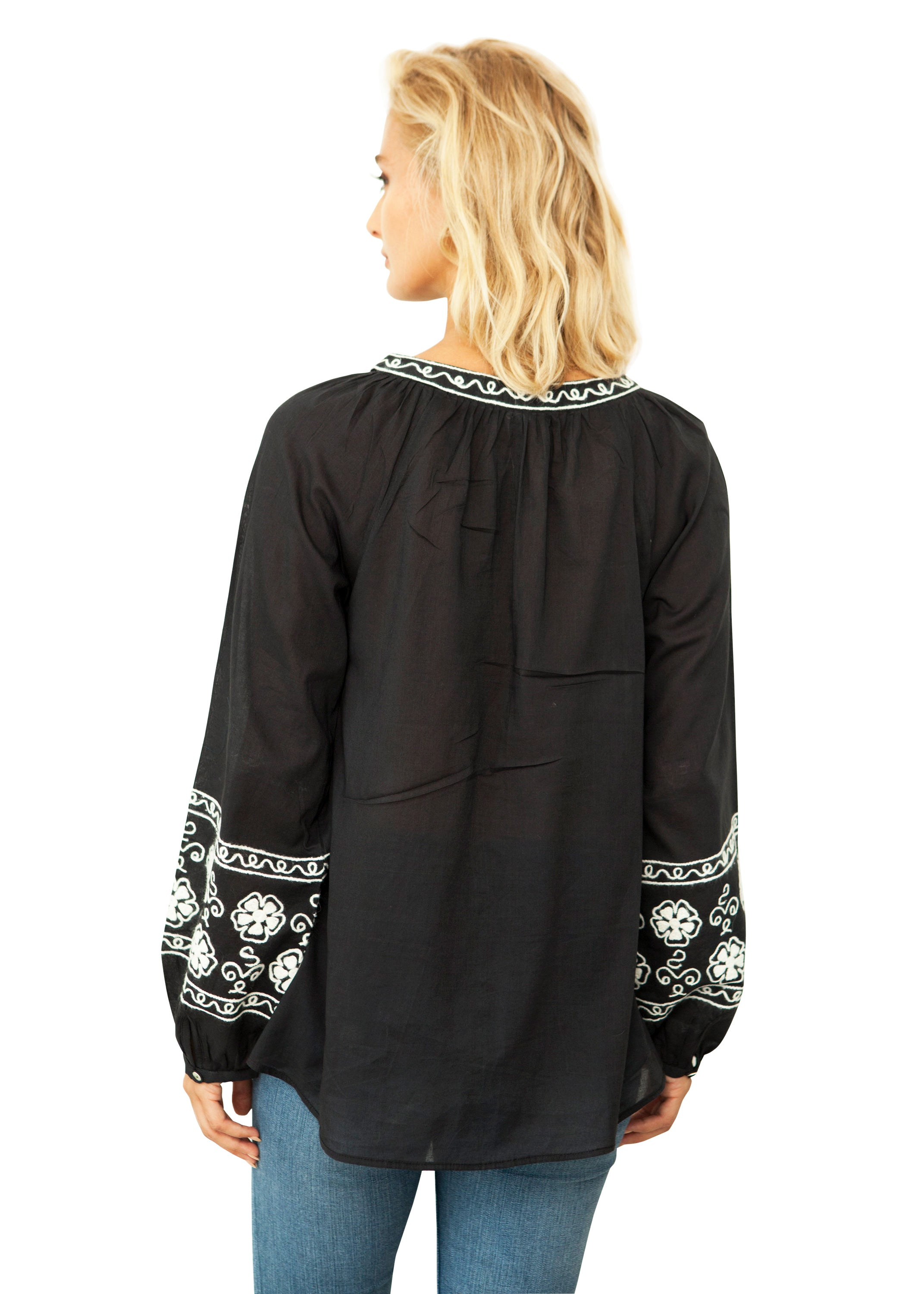 Sabrina Peasant Top Black
