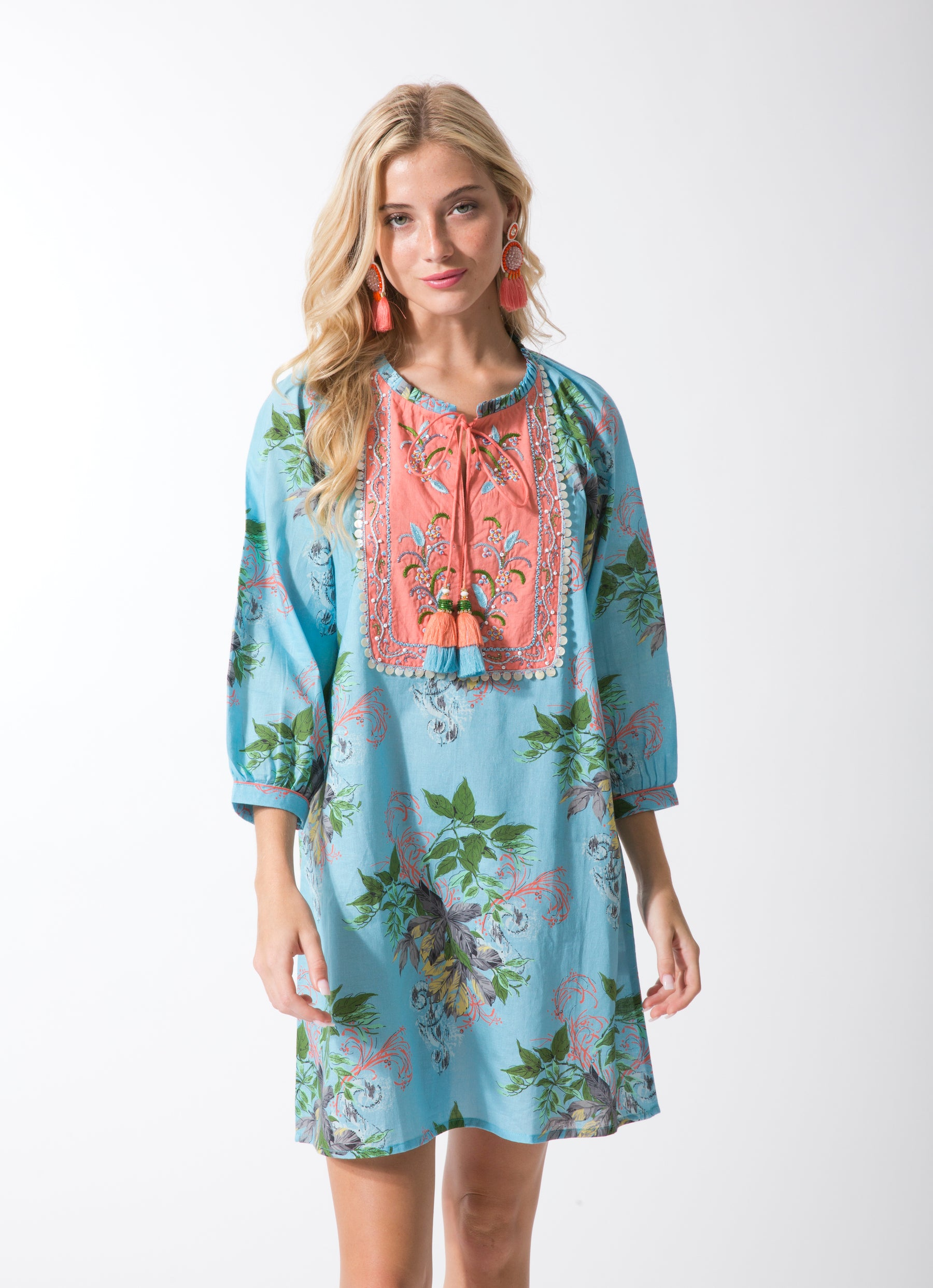 Leaves Peasant Dress