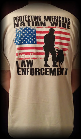 Tan Law Enforcement Protecting Americans Tshirt
