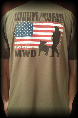 Military Green MWD Protecting Americans Tshirt