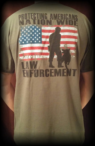 Military Green Law Enforcement Protecting Americans Tshirt