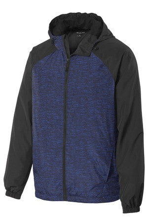 Sport-Tek® Heather Colorblock Raglan Hooded Wind Jacket JST40 (Available in 3 colors)