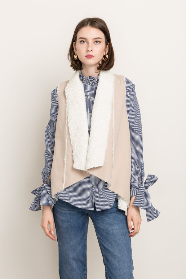 Faux Fur Lined Vest in Sand