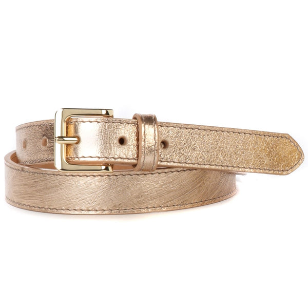 Millie Rose Gold Leather Belt