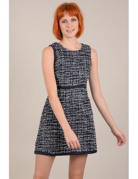 Bodycon Tweed Dress - Cobalt Blue
