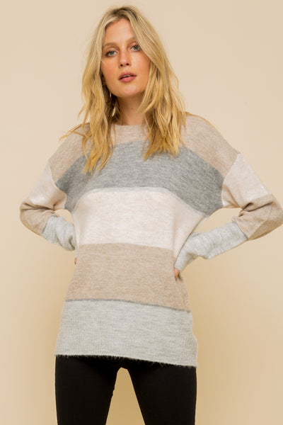Soft Color Stripe Sweater - Taupe/Grey/Mocha