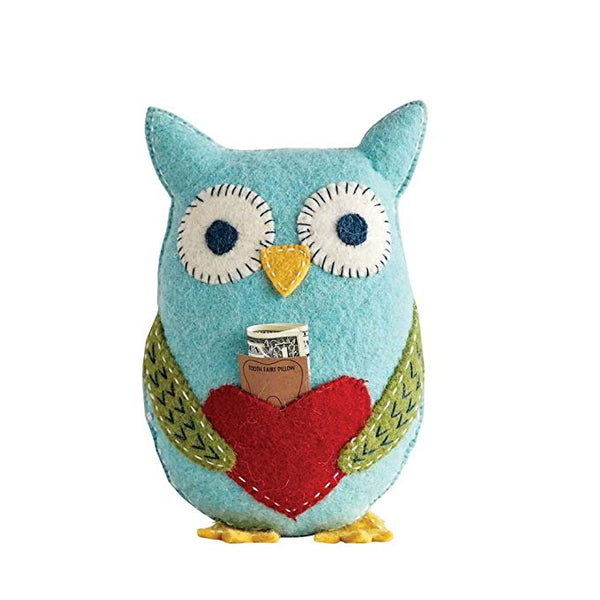 Wool Owl Tooth Fairy Pillow - Blue