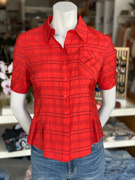 Fitted Plaid Button Shirt