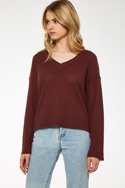 Carried Away Contrast V Cozy Top - Coffee Berry