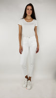 High Rise Slim Straight - White