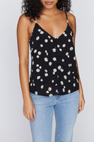 Essential Button Front Tank - Black Daisy Chain