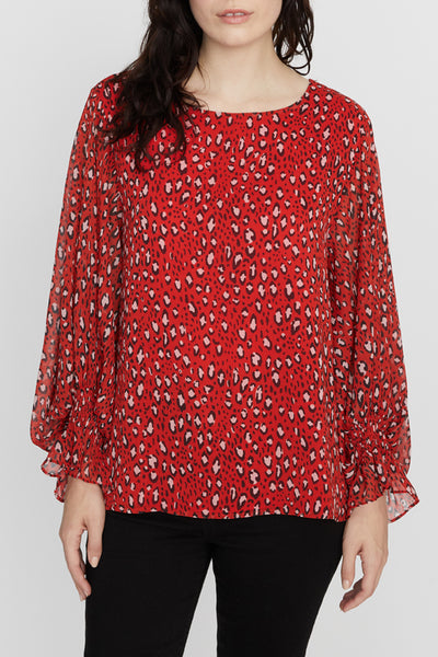 Rylee Volume Sleeve Red Leopard Blouse