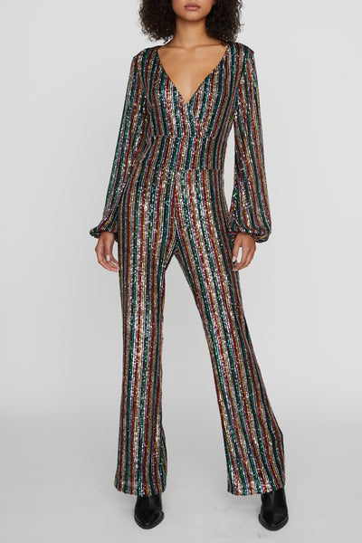 Shine Bright Faux Wrap Jumpsuit - Rainbow Sequin