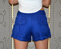 Esley Linen Shorts Royal Blue