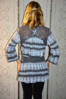 Printed 3/4 Sleeve Tunic Lace Waistband