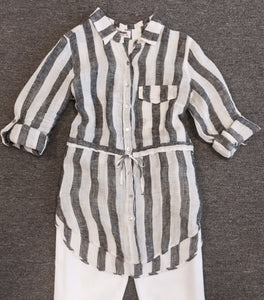 Grey and White Stripe Linen Tunic