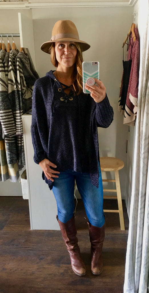 Tie Up Navy Knit Sweater