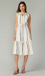 Cruz Smocked Embroidered Yarn Dye Midi Dress