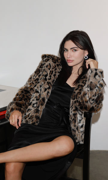 Kina Faux Fur Leopard Short Coat