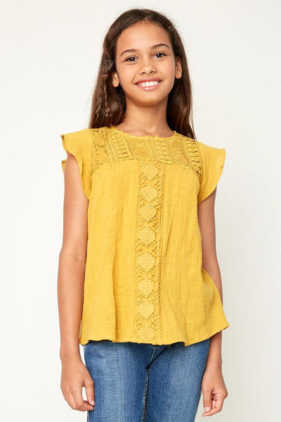 Crochet Blouse With Frill - Honey