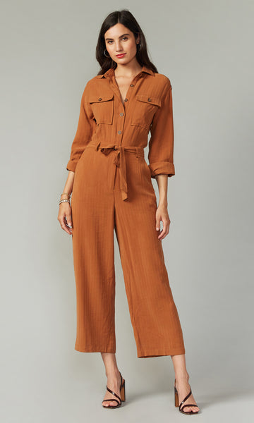 Chenis Utility Jumpsuit - Ochre Brown
