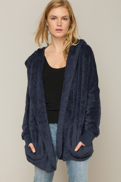 Both Side Fur Open Jacket - Navy