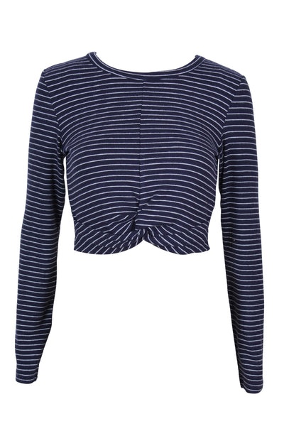 Stripe Rib Twist Top - Navy/Ivory