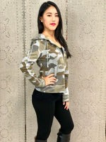 Camo Hoodie with Embroidered Trim
