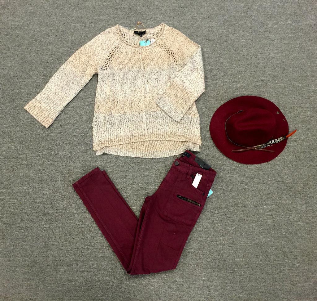 Ombre Knit Sweater Natural
