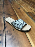 Moonshine Flat Sandal - Cow Hair Black and White