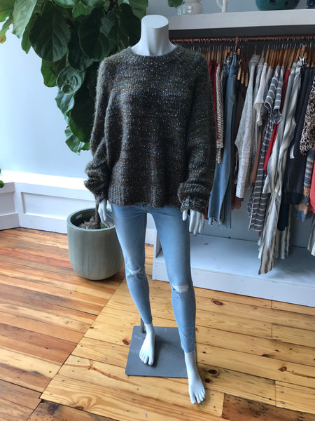 Textured Oversized Dolman Sleeve Crop Sweater