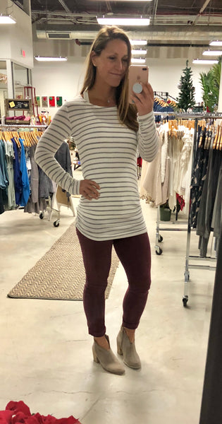 Striped Tunic with Side Ruching